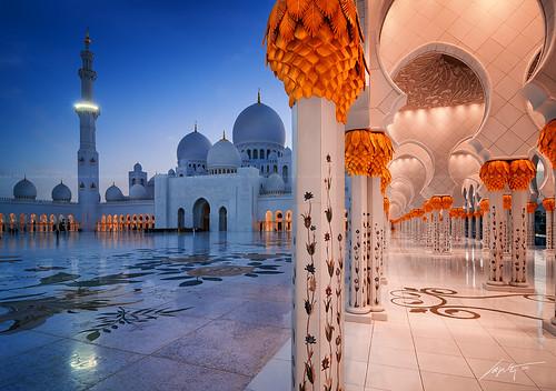 blue sunset shadow sky sun white gold lights nikon top uae grand mosque zayed abudhabi dome marble sheikh blending d300s myabudhabi simplyabudhabi