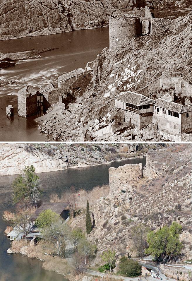 Evolución de la Torre de Alfarach entre 1872 y 2012 en 2 fotografías de Jean Laurent y José María Moreno
