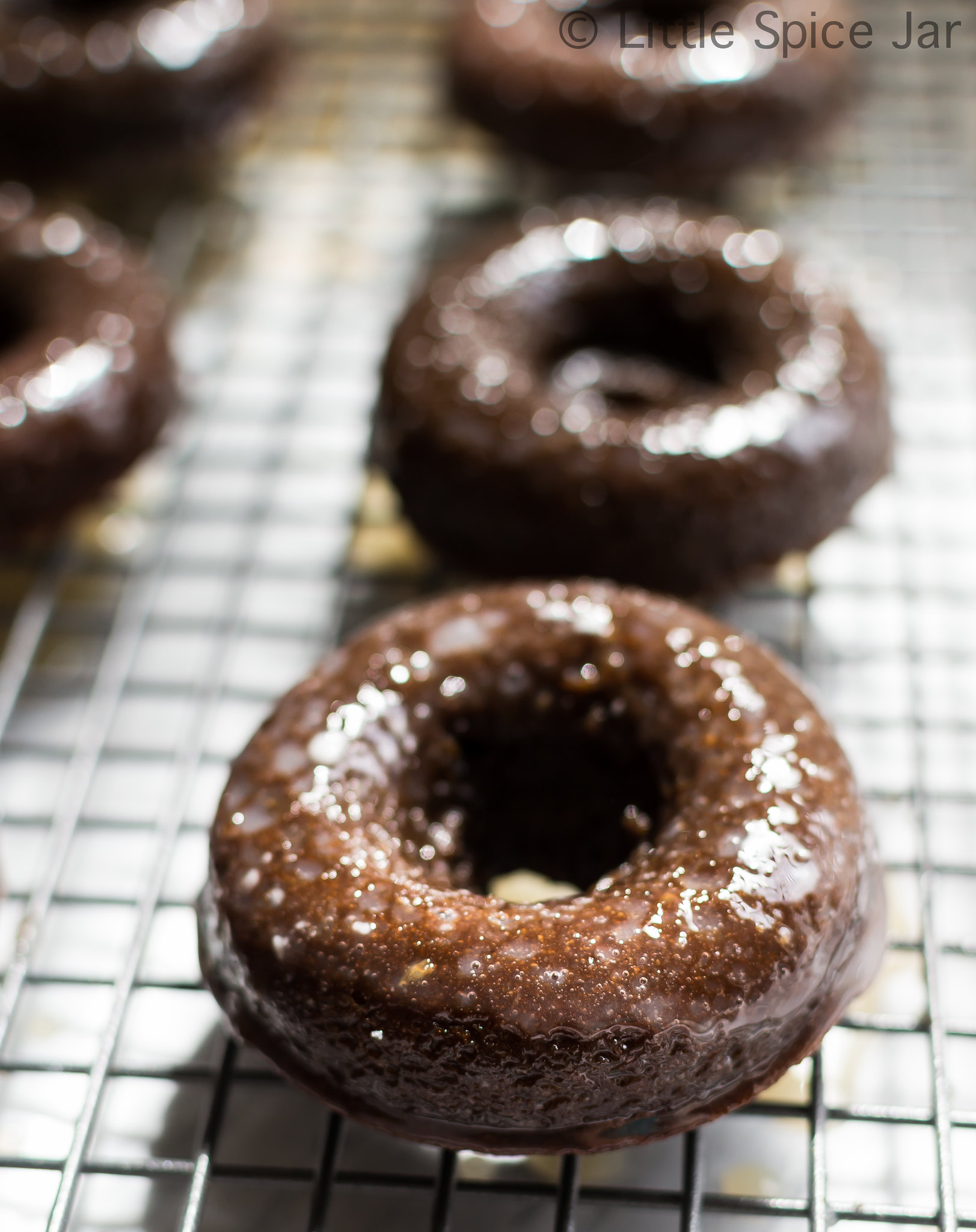 Baked Chocolate Glazed Donuts Donuts on Baking Rack 2