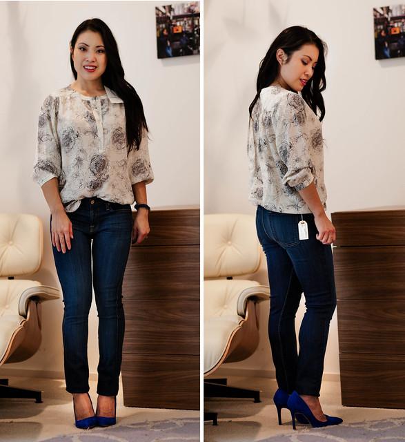 cute & little blog | petite fashion | blue jean bar express review | amour vert blouse, 7FAM jeans
