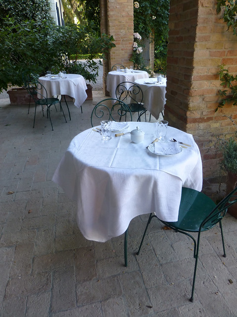 Cafe tables on the terrace