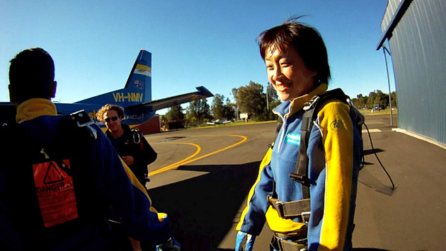Skydiving: we all go up in a small plane