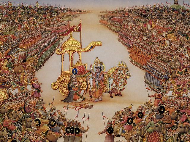 paritranaya sadhunam vinasaya ca duskrtam dharma-samsthapanarthaya sambhavami yuge yuge
