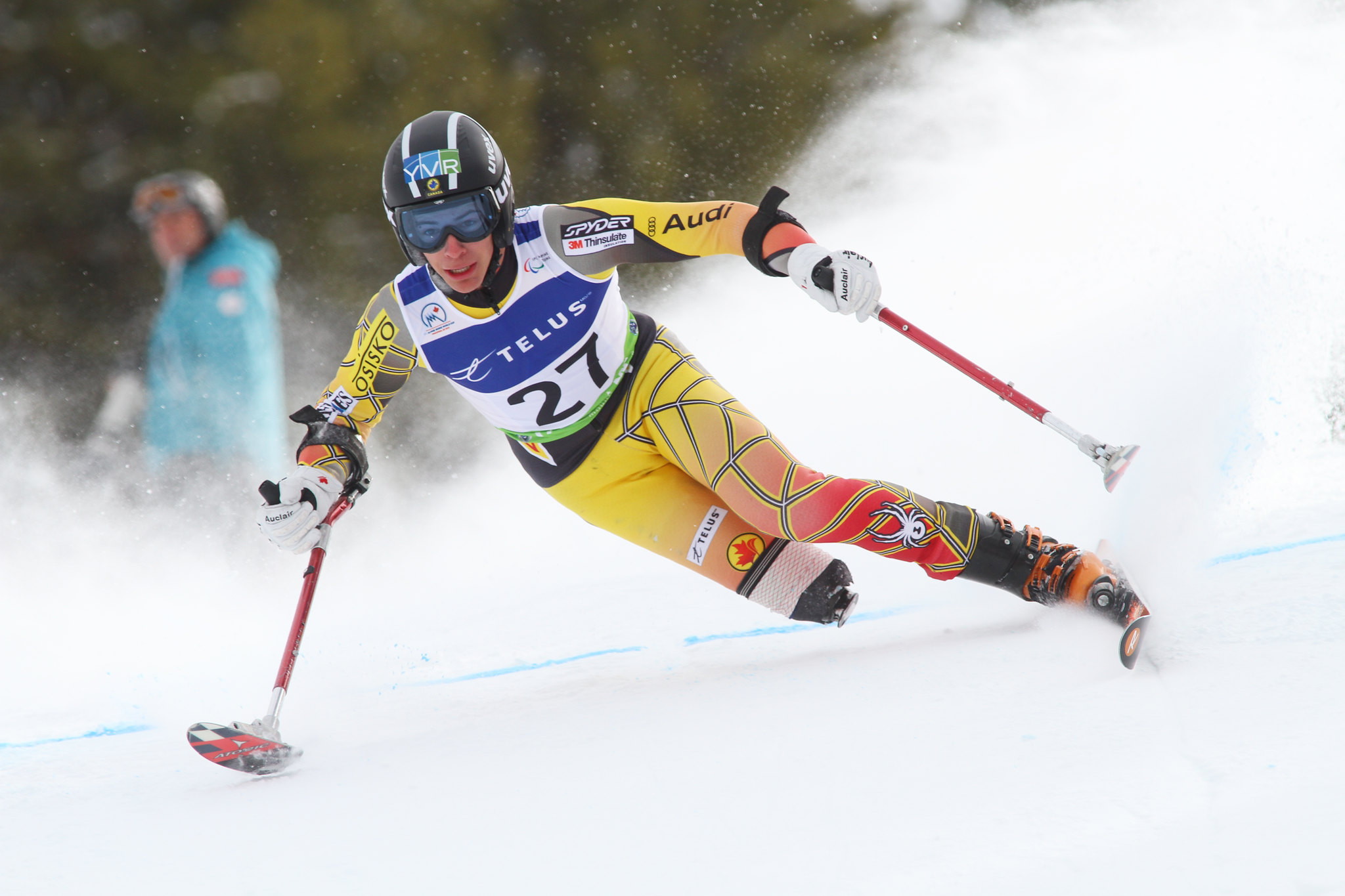 Braydon Luscombe skis in in an IPC World Cup super-G in Panorama, B.C.