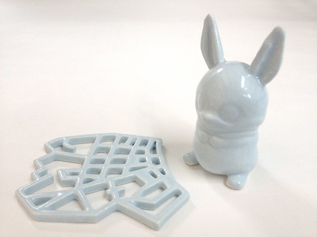 Eggshell Blue 3D Printed Ceramics at Shapeways