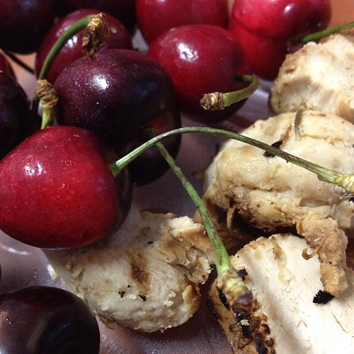 Day 3 of zoning. Here's my 2 block breakfast. Chicken and cherries. Surprisingly good combo! #paleo
