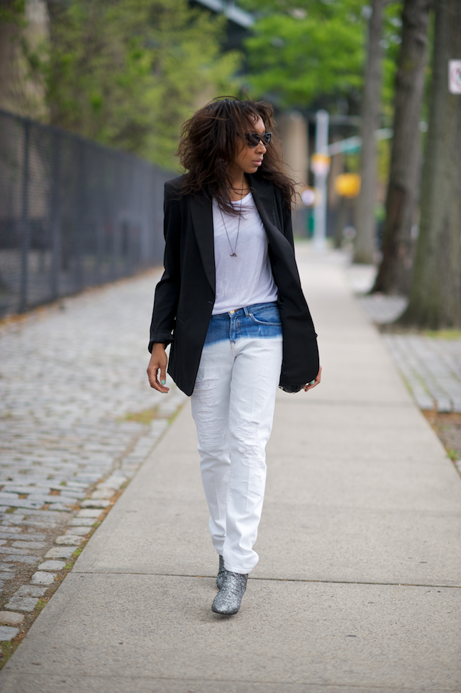 denim jeans and boyfriend blazer