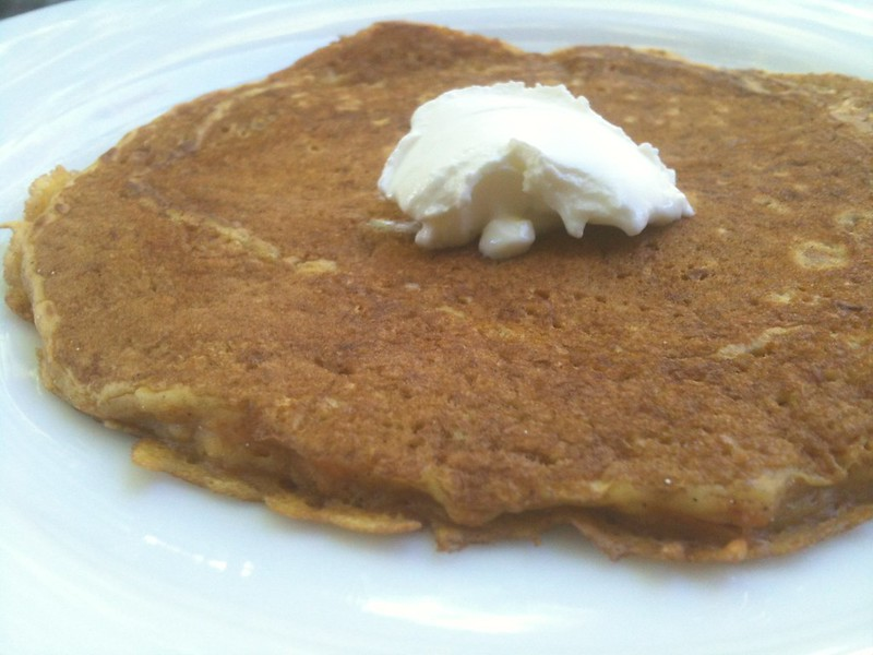Carrot cake pancakes with a dollop of mascarpone