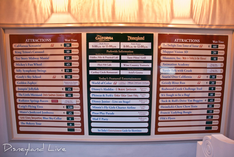 Disney California Adventure park map and wait time board