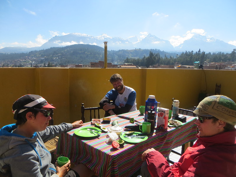 sunny morning with amazing views, drinking coffee on the terrace of our hostel, a hard life