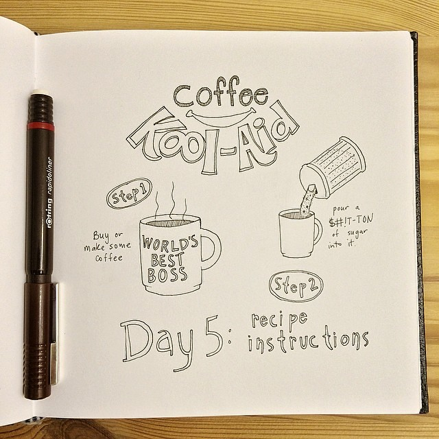 Day 5, so far behind but not giving up. It literally took me this long to be inspired by a recipe instruction. I'm not a #coffee drinker so I always tell people that when I do it has to resemble #KoolAid more than coffee. Part of my never ending love/hate