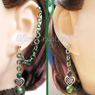 Green Celtic Heart Cartilage Chain Earrings