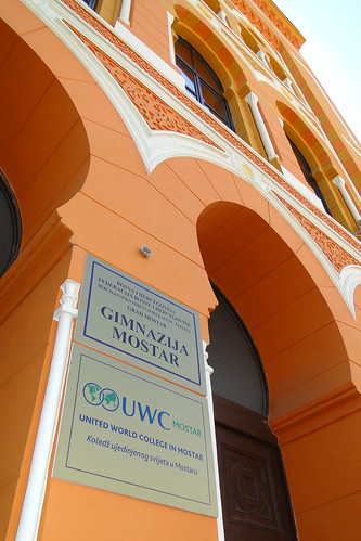 Sign for United World College in Mostar Gymnasium - Mostar - Bosnia and Herzegovina