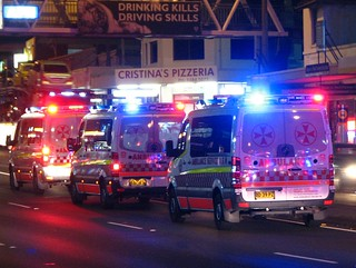 Ambulances at night