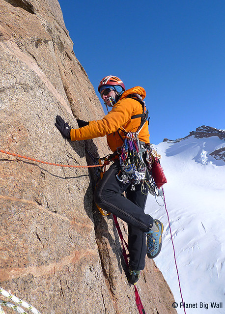 Sam Beaugey aid climbing in Antarctica