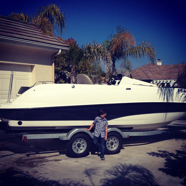 Parker with Johnson boat