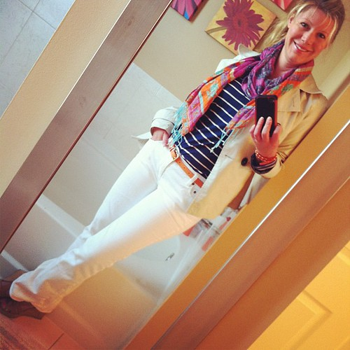 Thursday's ootd: (HOW is it Thursday?) Merona cropped trench, (I am a walking Target billboard lately.  They just really nailed it this spring, for me), white matchstick jeans J Crew, navy/white striped top, Old Navy, orange belt J Crew, orange/multi scar