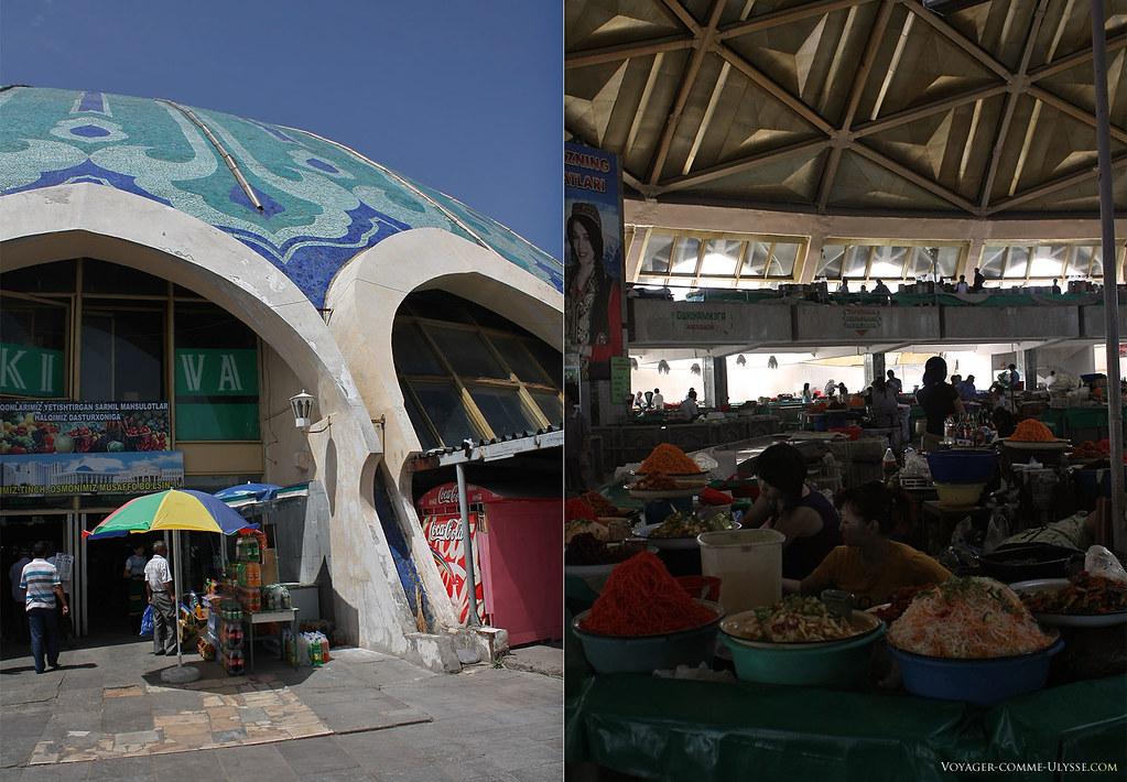 A gauche, l'entrée du dôme, à droite, à l'intérieur.