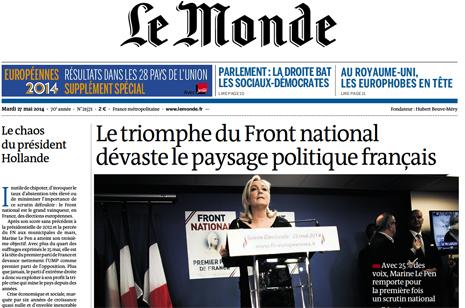 14e26 LMonde Triunfo FN extrema derecha Caos Hollande
