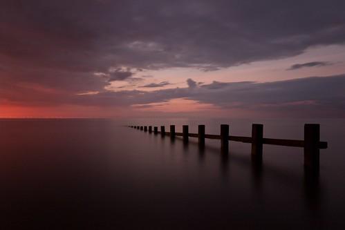 sunset sky seascape wales clouds long exposure cloudy north rhyl groynes denbighshire splashpoint neutraldensity