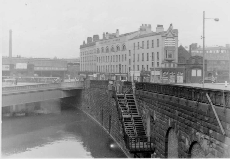 Old disused steps to the Irwell on Exchange approach, Manchester, May 1958.