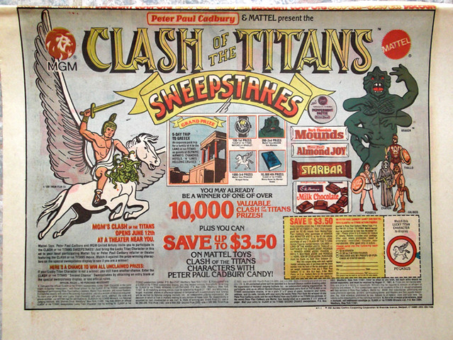 1981 Peter Paul Cadbury Mattel Clash of the Titans Sweepstakes Newspaper Ad Mounds Almond Joy Starbar