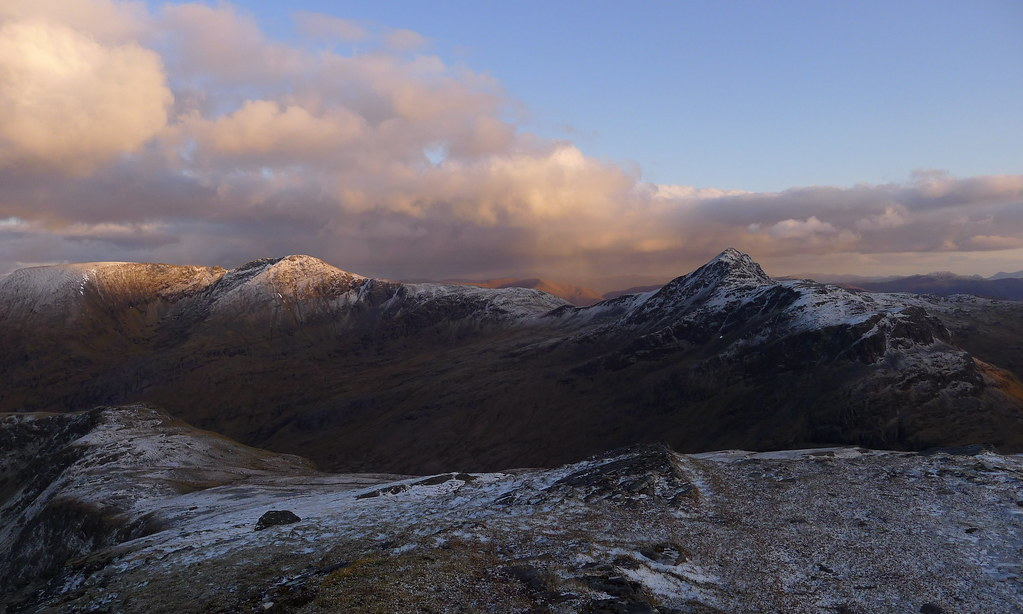 Lurg Mhor and Sheasgaich at dusk