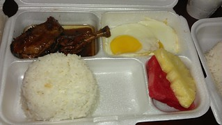 chicken adobo eggs and fruits breakfast