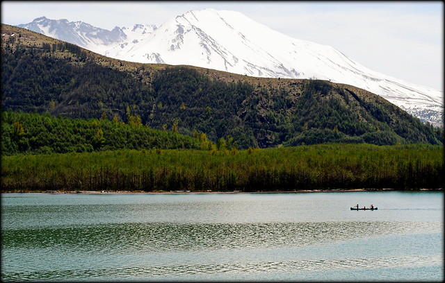 a family canoeing in Coldwater Lake - Mt St Helens