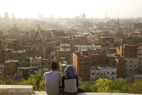 Young couple in Al Azhar park