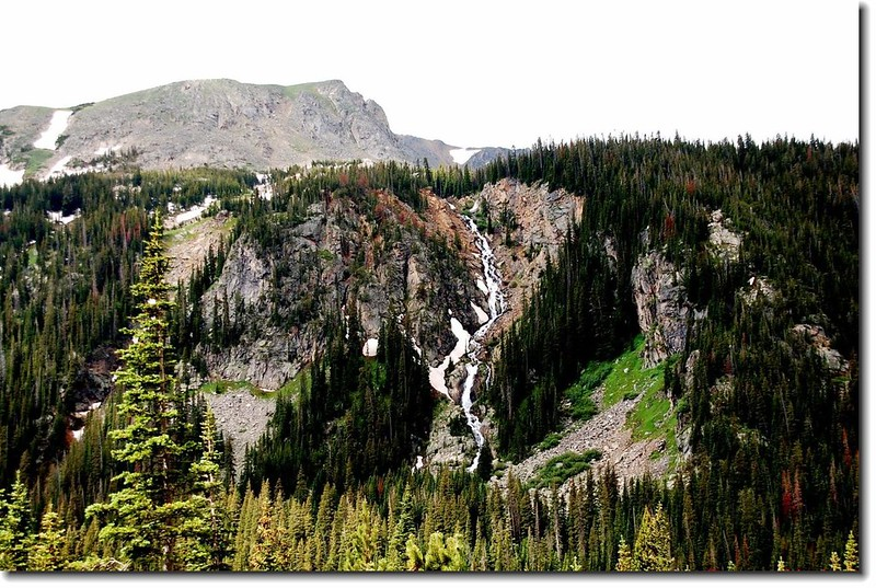 Overlooking a waterfall that Diamond Lake's outlet