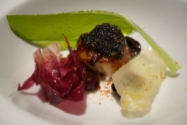 Hokkaido scallop with crispy vegetables, marinated cherry & 180 Day Old Finland Caviar - Gaia Ristorante, Goodwood Park Hotel
