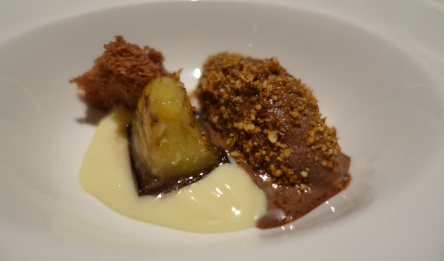 White chocolate cream with chocolate ice cream, hazelnuts, eggplant & chocolate sponge - Gaia Ristorante