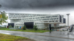 Fornebu, Norway: Government-owned Statsoil offices, The complex has five buildings aligned in a rectangle with a diagnol.