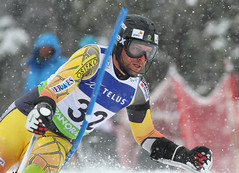 Matt Hallat in the slalom portion of an IPC World Cup super combined in Panorama, B.C.