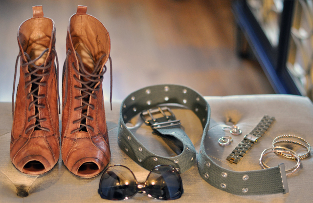 lace up boots-army belt- jewelry and sunglasses
