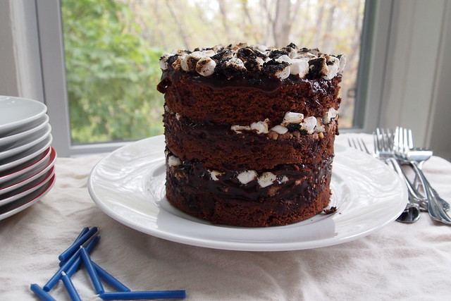 Chocolate-malt layer cake