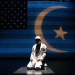 Richard Montoya as a Muslim immigrant to the United States who finds it increasingly difficult to live here post-9/11, in the Huntington Theatre Company's production of