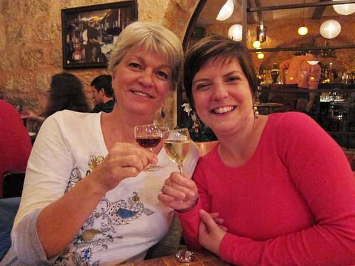 mom and I w/ dessert wines