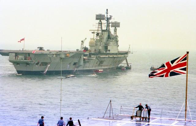 HMS Ark Royal (R09) Audacious-Class Fleet Aircraft Carrier Silver Jubilee Spithead Fleet Review from HMS Hermes (R12) 1977