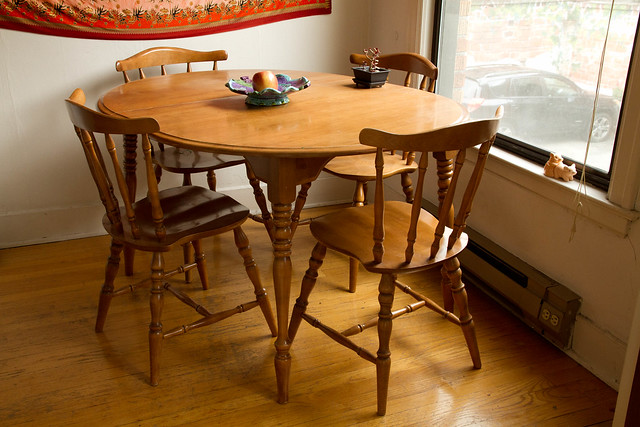 For sale 100 maple kitchen table and 4 chairs flickr for Small kitchen table and chairs for sale