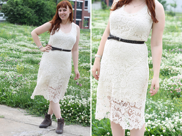 "Ginger and Clover Outfit: Modcloth cream lace ""Grace Yourself Dress"", Free People lace ""Daisy Lane Ankle Socks"", Free People open leather Jeffrey Campbell ""Cast and Crew Ankle Boots"""