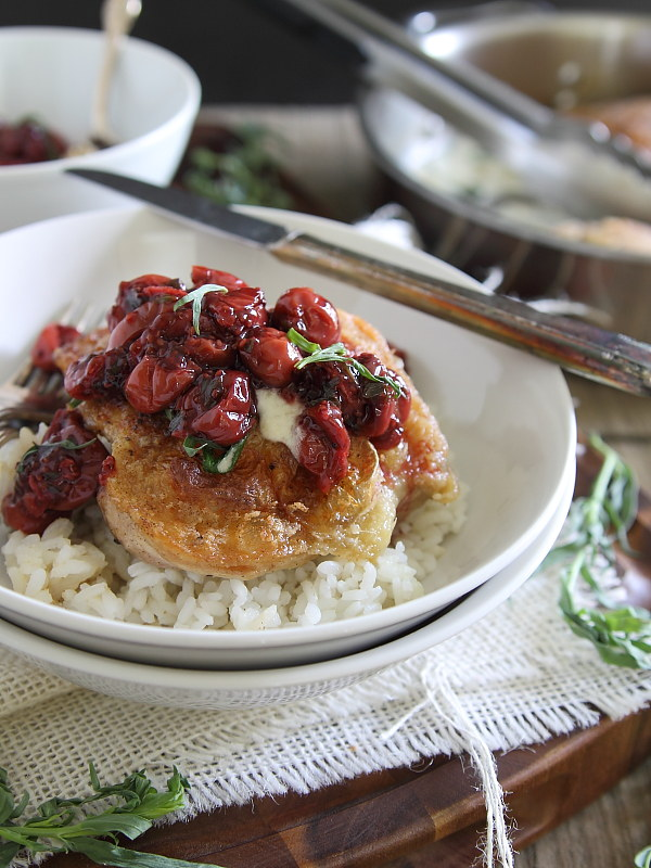 Fried chicken in a creamy goat cheese sauce topped with tarragon tart cherries