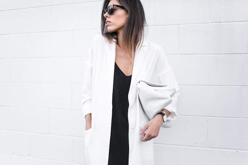 modern legacy blog street style off duty ASOS Duster Coat Common Projects slide sandals Topshop Boutique midi silk cami dress Zara leather clutch monochrome black white blogger balayage hair tuck oversized minimalist (5 of 8)