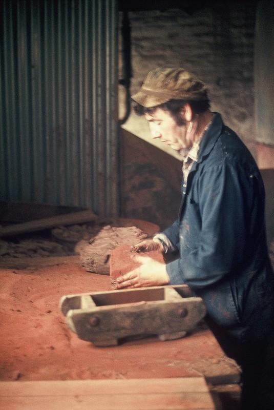 Last brick being made - clay throwing. Crowle Brickworks