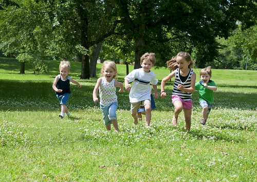 Kids running in the park