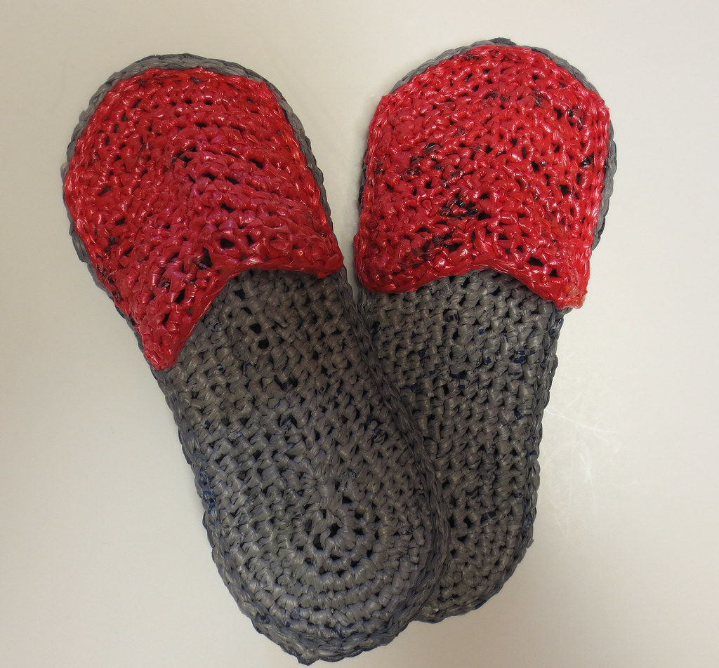 Crochet recycled plastic bags - Crocheted Pink And Grey Plarn Sandals