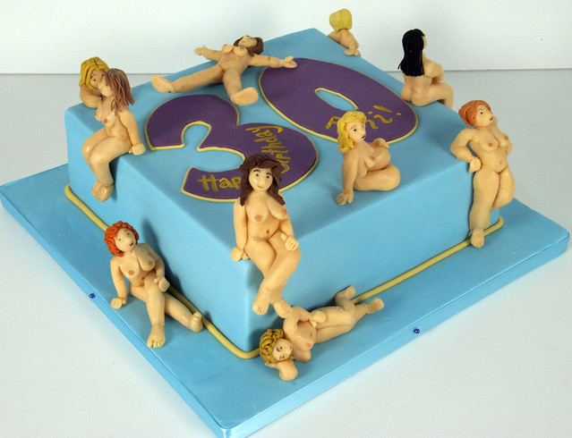 nude woman coming out of cake birthday image