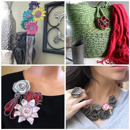 fermuar çiçekten broş, çanta, kolye-yüzük