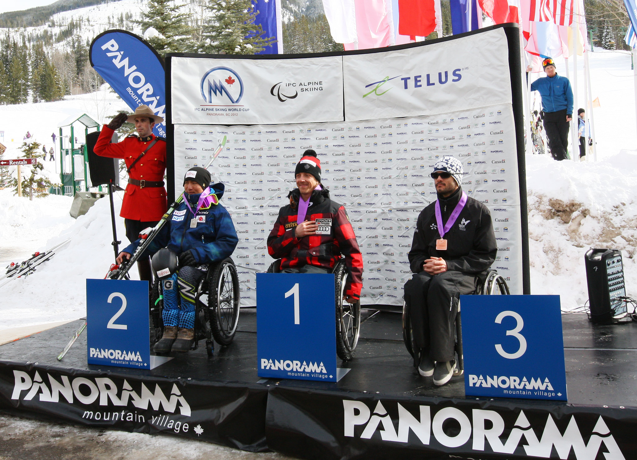 Josh Dueck on the podium for his IPC World Cup super-G win in Panorama, B.C.